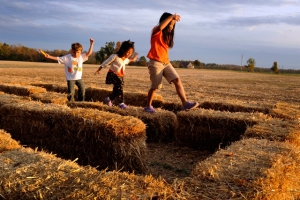 """Carissa Breeding, 8, her sister Caroline, 5, and their friend Nathan Nett, 5, play """"followthe leader"""" on haybales at Wooden Farms in Elizabethtown, Ky."""